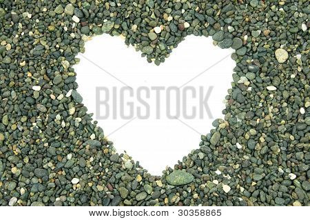 white empty space heart-shaped in the middle piles of stone