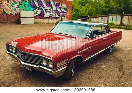 Ufa, Russia - August 12, 2018: Front View Of A Muscle Retro Car 1968 Buick Riviera.