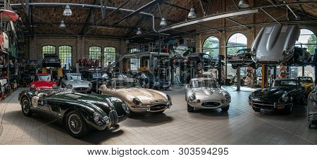 Berlin - May 11, 2019: Panoramic View Of The Workshop For The Repair And Maintenance Of English Clas