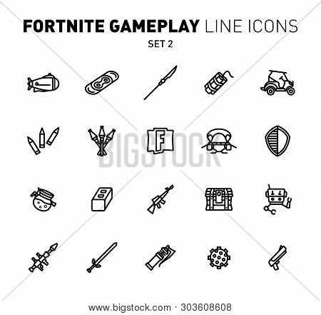 Fortnite Epic Game Play Outline Icons. Vector Illustration Of Combat Military Facilities. Linear Fla