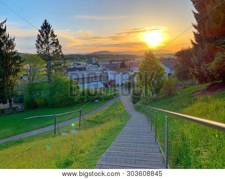 Sunset view over a village in Switzerland