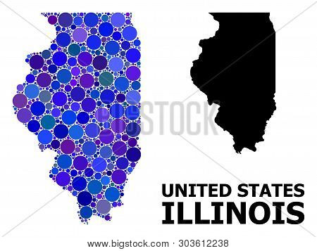 Blue Circle Dot Mosaic And Solid Map Of Illinois State. Vector Geographic Map Of Illinois State In B