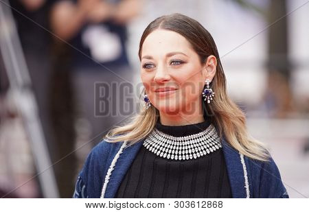 CANNES, FRANCE - MAY 22, 2019: Marion Cotillard departs the screening of