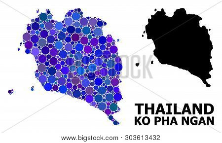 Blue Round Spot Mosaic And Solid Map Of Ko Pha Ngan. Vector Geographic Map Of Ko Pha Ngan In Blue Co