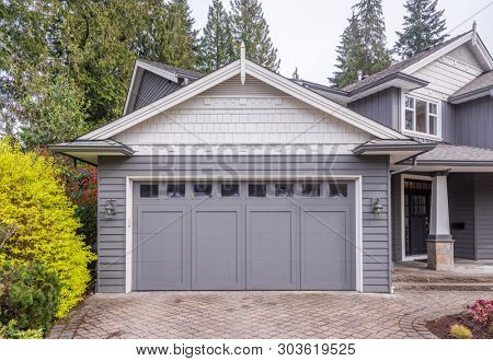 Garage door in luxury house in Vancouver, Canada.