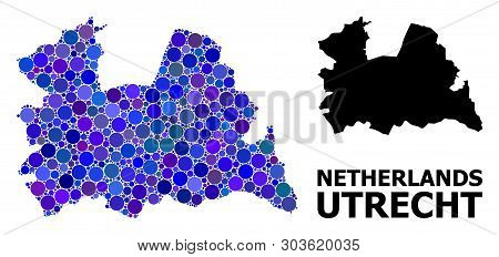 Blue Circle Mosaic And Solid Map Of Utrecht Province. Vector Geographic Map Of Utrecht Province In B