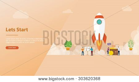 Lets Start Big Words Concept With Team People And Rocket Startup Launch Business For Website Templat