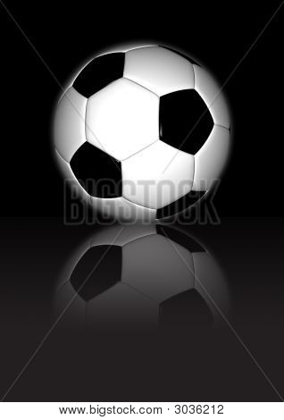 Soccerball - Reflection On Dark Surface