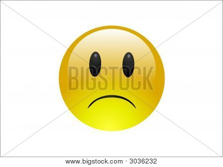 A shiney emoticon face isolated on white background sad. poster