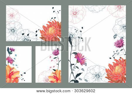 Art Floral Greeting And Business Card. Patterns With Orange Asters, Lilies, Pink Cornflowers, Red An