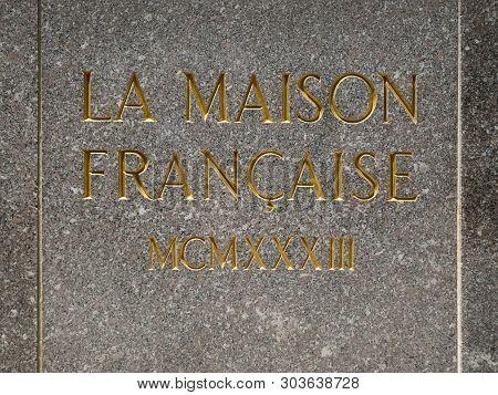 New York City - May 24, 2019: La Maison Francaise In Rockfeller Center, Art Deco Building Complex, S