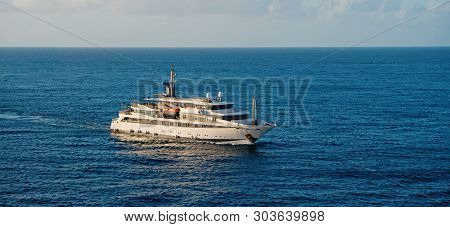 Ship In Sea In Bridgetown, Barbados. Sea Voyage. Discovery And Adventure. Sea Voyage On Ship. Wander