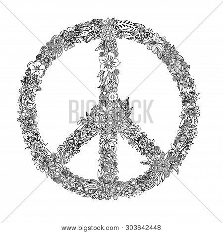 Floral Peace Symbol. Coloring Page For Adult Coloring Book. Hand Drawn Doodle Style. Vector Illustra