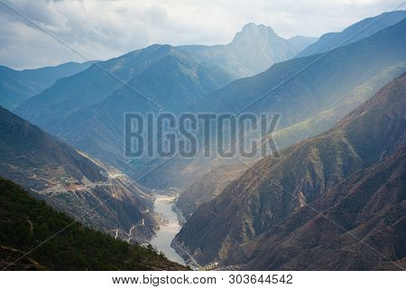 Landscape Scenery On The Road Between Lijiang And Shangri-la, Yunnan Province China. High Altitude M