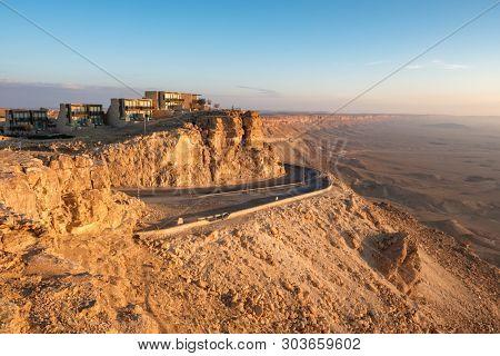 Road on the cliff at Ramon Crater in Mizpe Ramon in Negev desert, Israel