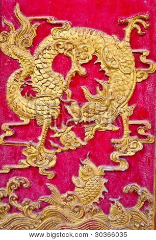 The Golden Dragon On The Wall