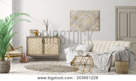Modern Interior Of Living Room With Sofa, Door And Cabinet, Home Design 3d Rendering
