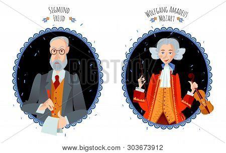 History Of Austria. Portraits Of Famous People. Sigmund Freud, Wolfgang Amadeus Mozart. Vector Illus