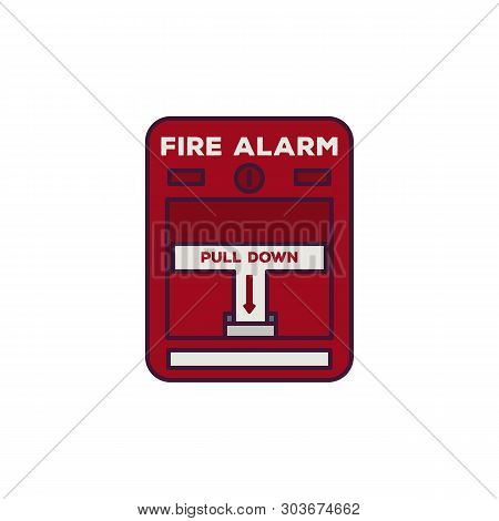 Fire Alarm Box. Fire Alarm Text, Pull Down Switch. Line Style Vector Illustration. Classic Fire Swit