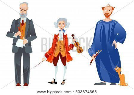 History of Austria. Famous people. Sigmund Freud, Wolfgang Amadeus Mozart, Gustav Klimt. Vector illustration. poster