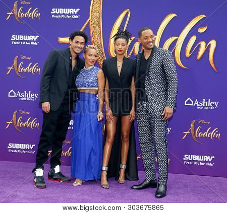 Trey Smith, Jada Pinkett Smith, Willow Smith and Will Smith at the Los Angeles premiere of 'Aladdin' held at the El Capitan Theatre in Hollywood, USA on May 21, 2019.