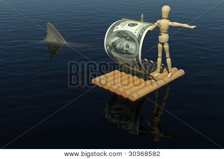 The wooden man on a raft with a sail from a dollar bill