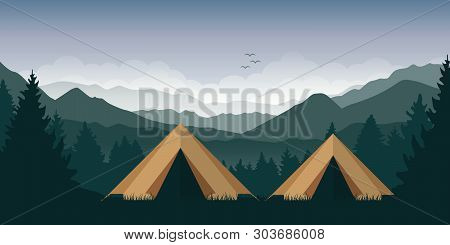 Camping Adventure In The Wilderness Two Tents In The Forest At Green Mountain Landscape Vector Illus