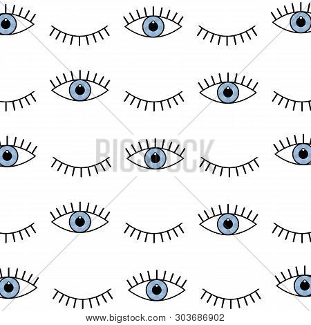 Abstract Seamless Sport Eyes Pattern For Girls, Boys. Creative Sport Vector Pattern With Psychodelic