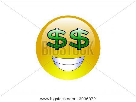 Aqua Emoticons - Dollar Signs (Money)