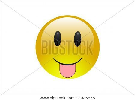 """Glossy """"aqua"""" style emoticon sticking out tongue poster"""