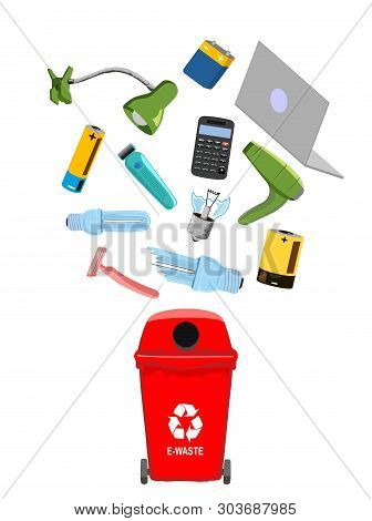Garbage Can With E-waste Elements, Vector Illustration.