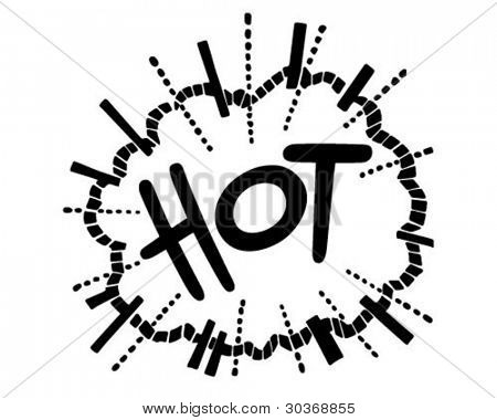 Hot Exploding Header - Retro Clipart Illustration