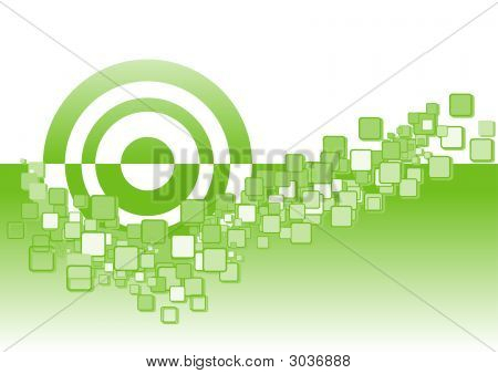 Abstract Squares And Circles 1 - Lime Green