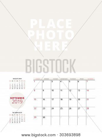 Wall Calendar Planner Template For September 2019. Week Starts On Sunday. Vector Illustration. Stati