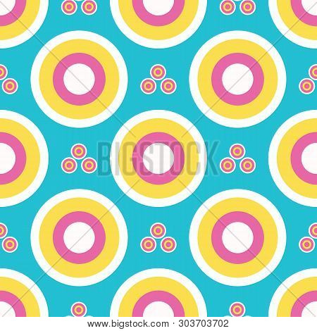 Abstract Dotty Target Circles. Vector Pattern Seamless Background. Hand Drawn Textured Style. Polka