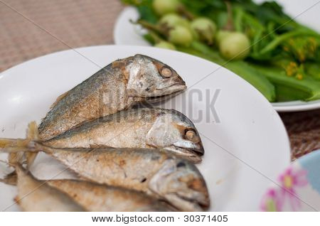 Fried of mackerel fish is local food in eastern and of Thailand poster