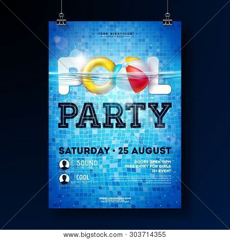 Summer Pool Party Poster Design Template With Water, Beach Ball And Float On Blue Tiled Background.