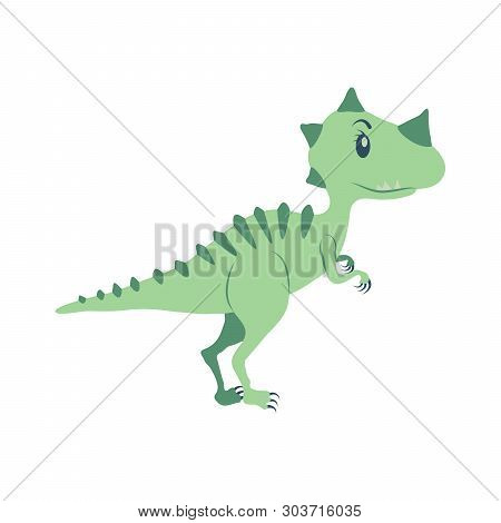 Tyrannosaurus Cartoon Dinosaur. Cute Funny Illustration Of Tyrannosaurus. Vector Illustration