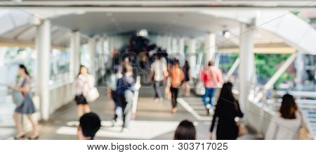 Many People Walking On The Skywalk With Blurry Image, Lifestyle In City