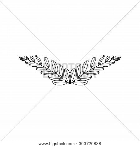Branches Of Olives, Symbol Of Victory, Vector Illustration, Line Silhouette, Black, White, Icon, Obj