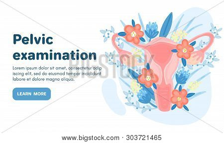 Web Template With Female Reproductive System In Flowers. Landing Page. Woman Health. Advertising For
