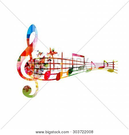 Music Background With Colorful G-clef And Music Notes Vector Illustration Design. Artistic Music Fes