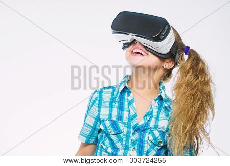 Get Virtual Experience. Girl Cute Child With Head Mounted Display On White Background. Virtual Reali