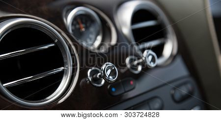 Air Vents In Luxury Car. Air Ventilation And Conditioning In Car.