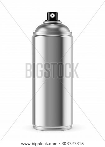 Blank Spray Paint Metal Can Isolated On White Background. 3d Illustration