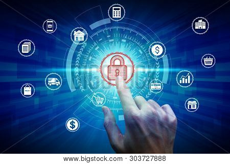 Hand Touch Virtual Padlock Icon Over The Network Connection, Cyber Security Data Protection Business