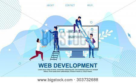 Flat Banner Is Written Web Development Cartoon. Service To Develop Site Or Landing Page. Men Work On