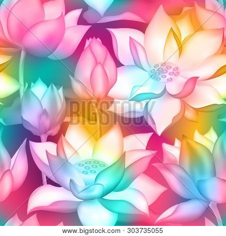 Lotus Buds And Flowers Seamless Background. Water Lilly Nelumbo Aquatic Plant Packaging Design. Sacr