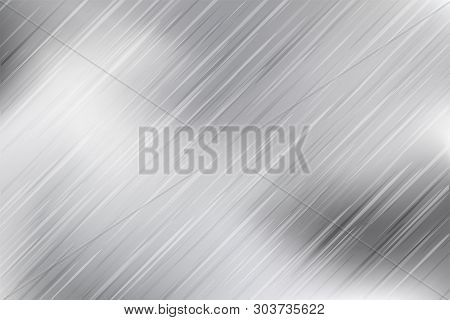 Silver Foil Texture Monochrome Background. Vector Shiny And Metal Steel Gradient Backdrop. Metal Bac