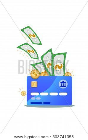 Nfc Credit Card Icon With Dollar Banknotes And Gold Coins Isolated On White Background. Concept Of O